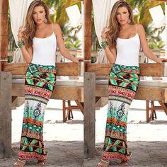 Womens-Summer-Boho-Long-Maxi-Skirt-Evening-Cocktail-Party-Beach-Dress-Sundress