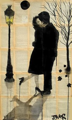"Saatchi Online Artist: Loui Jover; Pen and Ink, 2013, Drawing ""autumn lovers"""