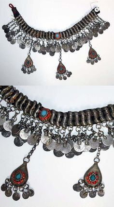 Silver choker necklace on textile band. Probably from northern Syria, ca.1900. Bedouin or Kurdish. With set turquoises and coral.