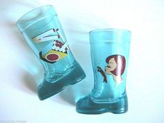 French 1950s Boots Shot Glasses - Lot of 2 - Signed - Cigarettes Lovers - MADE IN FRANCE - New on Etsy, $30.00