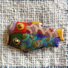 七宝焼ピンブローチ(ピンバッジ,ピンズ) 鯉のぼり