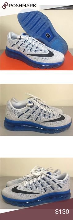 Nike Air Max 2016 White/Blue Size 7y or 8.5 Womens New with box never worn. Youth  size 7 but could be women's size 8.5. Fast shipping!!!