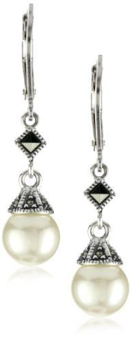 Judith Jack Sterling Silver Marcasite and Simulated Pearl Drop Earrings Judith Jack. $70.00. Easy to wear for special occasion or to the office Made in TH. Easy to wear for special occasion or to the office. For pierced ears only. Elegant freshwater pearls dangle from a comfortable lever back closure. Made in Thailand