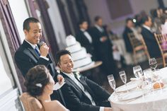 Best Man toasts during a wedding reception at The Estate at Florentine Gardens in River Vale, NJ. Captured by Northern NJ wedding photograph...