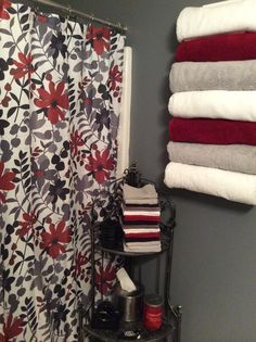 Shower Curtain Via EBay, Wine Rack Turned Towel Holder, And Corner Metal  Shelving For