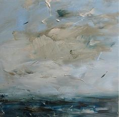 high sky, turquoise sea ~ oil on canvas ~ by louise balaam