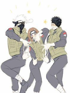 i swear if this terrible story didn't happened with them they would be the happiest team together Team Minato - Kakashi Obito Rin Anime Naruto, Naruto Comic, Naruto Shippuden Sasuke, Kakashi And Obito, Naruto Sasuke Sakura, Naruto Cute, Otaku Anime, Hinata, Boruto