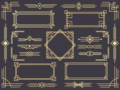 Ad: Art deco border frame divider by Tartila on Art Deco design elements collection, vector frames, borders, corners and backgrounds for trendy cards --- This Art Deco collection is Estilo Art Deco, Arte Art Deco, Moda Art Deco, 1920s Art Deco, Bullet Journal Art, Bullet Journal Inspiration, Journal Ideas, Deco Elephant, Line Art