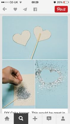 Silver glitter hearts