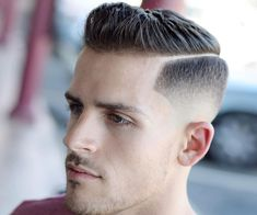 Hard Side Part + High Skin Fade - short cuts - Mens Messy Hairstyles, Short Hairstyles For Thick Hair, Cool Haircuts, Hairstyles Haircuts, Haircuts For Men, Trending Haircuts, Short Hair Cuts, Hairstyle Man, Classic Hairstyles