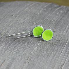 Green enamel silver earrings by mrspepper on Etsy