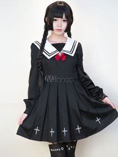 Print Lolita Dress Black Pleated Acetate Uniform