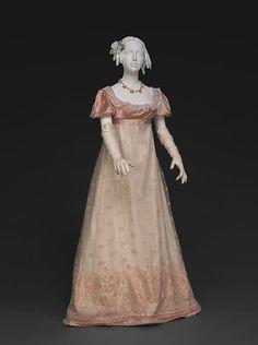 Regency evening gown in pink silk gauze
