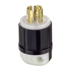 30 Amp 120/208-Volt 3-Phase Locking Grounding Plug, Black/White