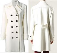 Am.nk Double Breasted Women Wool Turn Down Collar White Custom Made Handmade New Women Winter Coats 2014 Women\\s Causal Thick