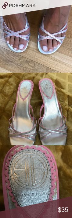Lily Pulitzer silver and pink sandal heels Lilly Pulitzer gorgeous pink and silver sandals Size 7 1/2 Lilly Pulitzer Shoes Sandals