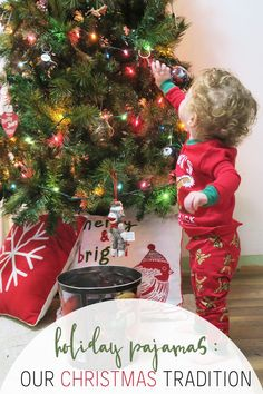 Read about our Christmas tradition of giving pajamas and find out my favorite pajamas to give our toddler! #ChristmasTradition #CartersPajamas via @sayhellonature