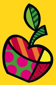 Romero Britto Rereading the Work Apple - - Projects For Kids, Art Projects, Arte Country, Graffiti Painting, Arte Popular, Whimsical Art, Art Plastique, Rock Art, Doodle Art