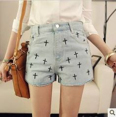 Women Vintage Embroidery Cross Light Color High Waist