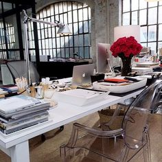 Sneak Peek at the Set Design of Nancy Meyers' Latest Movie//Chic Warehouse Office Design