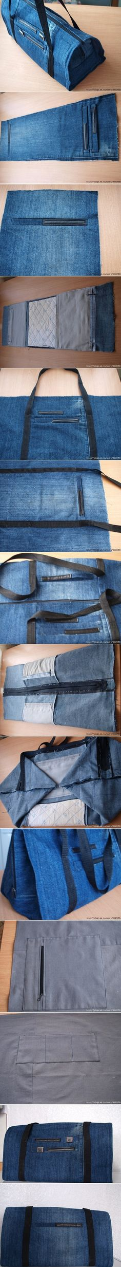 DIY handbag from old jeans. Diy Jeans, Recycle Jeans, Shorts Jeans, Upcycle, Sewing Hacks, Sewing Tutorials, Sewing Crafts, Sewing Patterns, Denim Bag Patterns