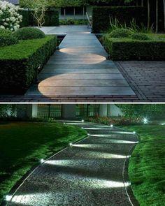 So cool garden pathway lighting idea. :)