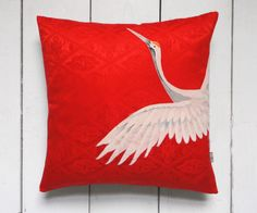 Beautiful Decorative Red and White Vintage Japanese Silk Kimono Cushion Pillow 'Crane' bird (1970)