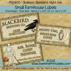 Farmhouse Labels - Skeleton - Blackbird - Night Owl