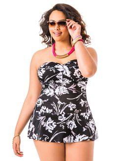 Black  amp  White Floral Halter Swim Dress  AshleyStewart Swimsuits For  Curves 64cd904b46bf