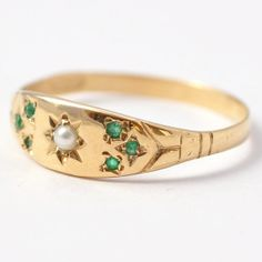 Victorian Ring Antique Pearl Old Cut Emeralds by BlueRidgeNotions, $335.00