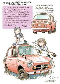 Character Art, Character Design, Drawing Machine, Bike Illustration, Japanese Cartoon, Japan Cars, Transporter, Car Sketch, Car Drawings