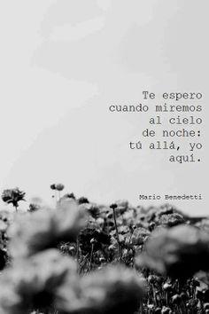 Te espero cuando miremos al cielo de noche... - Mario Benedetti