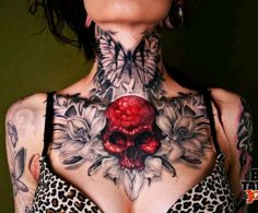 I like how you get to recognize certain peoples tattoos on the interweb.  This chick has an incredible chestpiece and throat tattoo