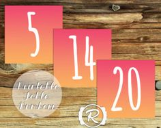 Printable Bright Ombre Table Numbers, DIY Wedding Printable, Engagement, Modern Graphic Style, Bright Table Numbers