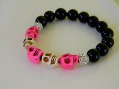 Pink and White Skull Beaded Bracelet by GasiaD on Etsy