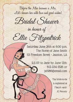 Printable Bridal Wedding Shower Invitation - French Parasol - Vintage, Umbrella, Pink, Rose, Blush, Peach, Cream, Ivory : cyanandsepia.etsy.com