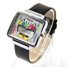 Relojes de pulsera #retro como nuestro modelo Carta de Ajuste. Para nostálgicos del tv test que salía en nuestro antiguo televisor http://www.vasderetro.com/complementos-retro/Relojes-de-pulsera-vintage