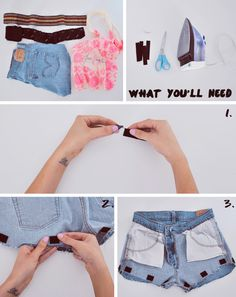 DIY - One of Each Blog- Velcro different trims on to shorts!