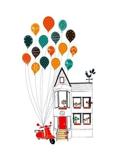 Lovely House and Balloons, Home Sweet Home, Motorcycle, Illustration Art Print Children decor, Kids Room, Wedding Birthday Anniversary Gifts. $18.00, via Etsy.