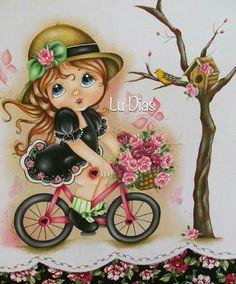 Pintura em tecido por Lu Dias, inspirada no papel de scrap decor da Litoarte criado por Rose Ferreira. Ameeeeiii!!!