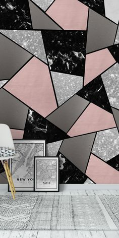 Abstract Wallpapers Black White Blush Geometric 1 wall mural from happywall Bedroom Wall Designs, Accent Wall Bedroom, Living Room Murals, Wall Murals, Geometric Wall Paint, Geometric Wallpaper, Trendy Wallpaper, Geometric Art, Wall Paint Patterns