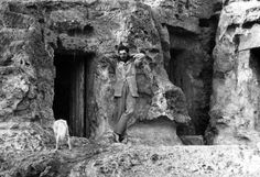 Flinders Petrie outside the tomb he lived in during his survey of the Great Pyramid, 1881.
