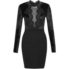 French Connection Fashion Week Lace Velvet Dress ($61) ❤ liked on Polyvore featuring dresses, black, women, bodycon mini skirt, lace overlay dress, lace dress, scalloped lace mini skirt and velvet dress