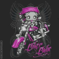 Biker Babe  ➡ MORE Betty Boop Graphics & Greetings http://bettybooppicturesarchive.blogspot.com/  ~And on Facebook~ https://www.facebook.com/bettybooppictures Sexy Betty Boop with angel wings posing on her motorcycle