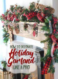 49 Ideas farmhouse christmas garland diy for 2019 farmhouse diy 707276316461539124 Christmas Fireplace, Christmas Mantels, Rustic Christmas, Christmas Holidays, Christmas Wreaths, Christmas Crafts, Christmas Poems, Plaid Christmas, White Christmas