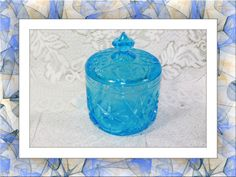 Imperial Glass Sunburst Blue Lidded Candy Container. Starting at $25