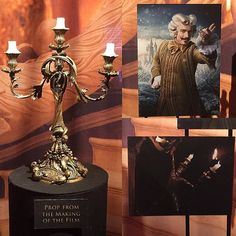A closer look at the film prop for the Live Action Beauty and the #Beast film at the #ElCapitanTheatre in #Hollywood presents the #Lumiere candelabra. This figurine is of much larger in scale and has the same characteristic features to that of the #DisneyStore Limited Edition version with leaf-like filigree-styled candle holders, facial components to that of the human character and an antique-gold Corinthian column-styled base. A promotional poster photo of #EwanMcGregor as Lumiere is…