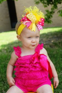 boutique+PINK+and+YELLOW+LEMONADE+over+the+top+hair+bow+by+andjane,+$16.99
