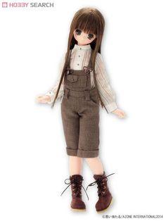 Komorebimori no Oyofukuyasan [Stand-Up Collar Blouse & Salopette Pants Set] (Beige Stripe x Bordeaux) (Fashion Doll) Other picture2