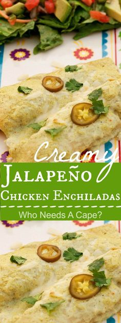 These Creamy Jalapeño Chicken Enchiladas are a true restaurant quality meal you can prepare at home. Perfect for Cinco de Mayo! | Who Needs A Cape?